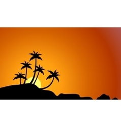Palm and rock on beach landscape silhouettes vector