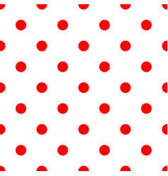 seamless polka dot pattern red dots on white vector image