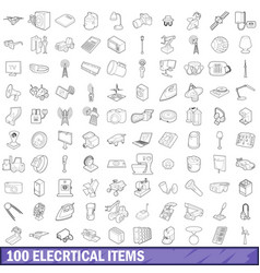 100 electrical items icons set outline style vector