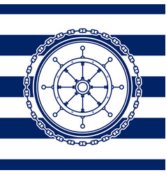 Sea emblem with ships wheel vector