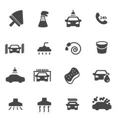 Black car wash icons set vector