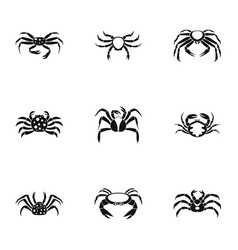 underwater crab icons set simple style vector image