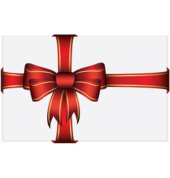 Red gift bow with ribbons vector