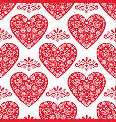 folk heart seamless pattern scandinavian vector image