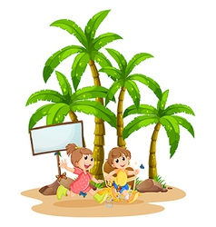 Two kids playing near the empty signboard vector image