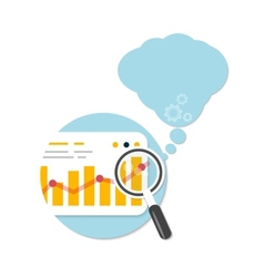 Magnifying glass and chart with bubble vector