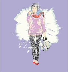 Fashion model Woman Sketch Hand drawn vector image
