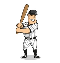 Cartoon baseball player character with bat vector