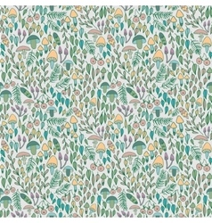 Forest seamless pattern mushrooms berries and vector