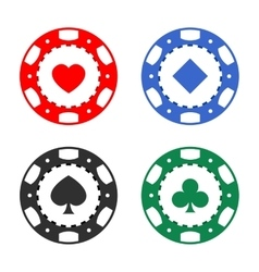 Gambling casino poker chips color set vector