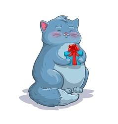Cute cartoon fat grey cat with gift box vector