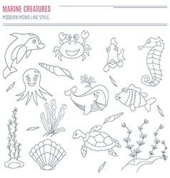 Collection of hand drawn sea creatures vector