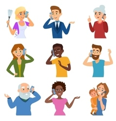 Set of calling mobile business adult people vector