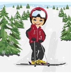 Little boy skiing in the ski resort vector