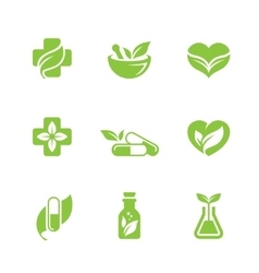 Herbal medicine icons set vector image