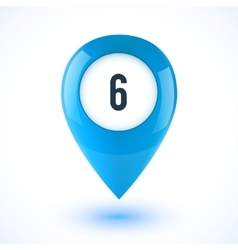 Blue realistic 3d glossy map point symbol vector