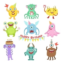 Sweet monsters happy with birthday party objects vector