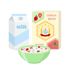 breakfast set - milk cereal berries healthy food vector image