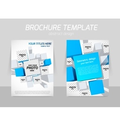 Brochure template with blue squares vector