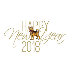 Calligraphy inscription happy new year 2018 with vector