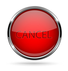 cancel button round red button with chrome frame vector image