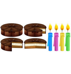 Chocolate cake and candles vector