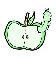 Comic cartoon apple with bug vector