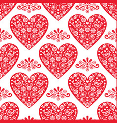 Folk heart seamless pattern scandinavian vector
