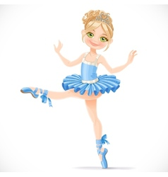 Graceful ballerina girl dancing in blue dress vector