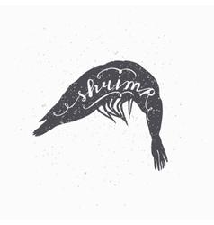 Hand drawn srimp hipster silhouette handwritten vector