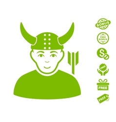 Horned warrior icon with free bonus vector