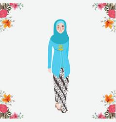 Indonesian women wearing kebaya javanese vector