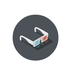 Isometric of white 3d glasses stereo cinema icon vector