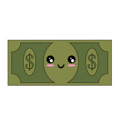 kawaii money bill icon vector image