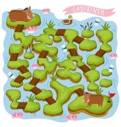 Maze logic game for kids vector