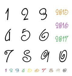 Numbers 0-9 written with a brush vector image vector image
