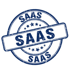 Saas blue grunge stamp vector