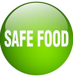 Safe food green round gel isolated push button vector
