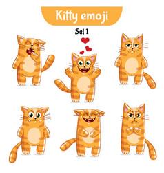 Set of cute cat characters set 1 vector