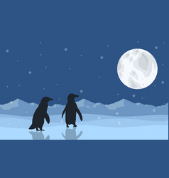 silhouette of penguin on snow with moon scenery vector image