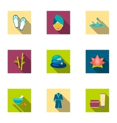 Spa set icons in flat style Big collection of spa vector image vector image