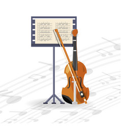 Violin instrument with music sheet concept music vector