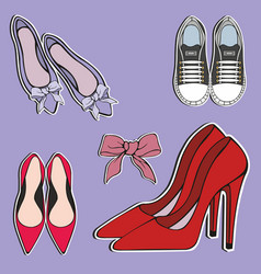 Womens shoes stickers decorative vector