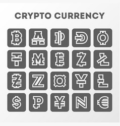 World crypto currency sign collection vector