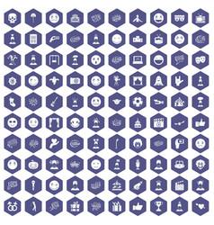 100 emotion icons hexagon purple vector