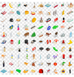 100 world icons set isometric 3d style vector