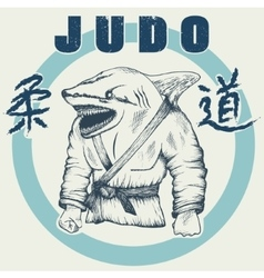 Shark practicing judo vector