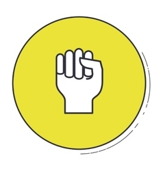 Hand gesture inside green button design vector image