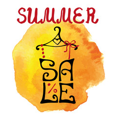 Summer sale letteringshirtwatercolor yellow vector