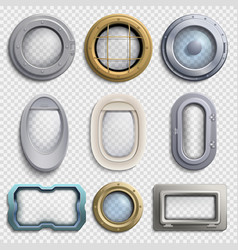 various portholes isolated set submarine vector image